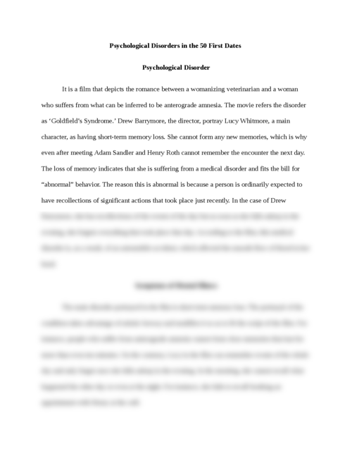 Essay on psychological disorders