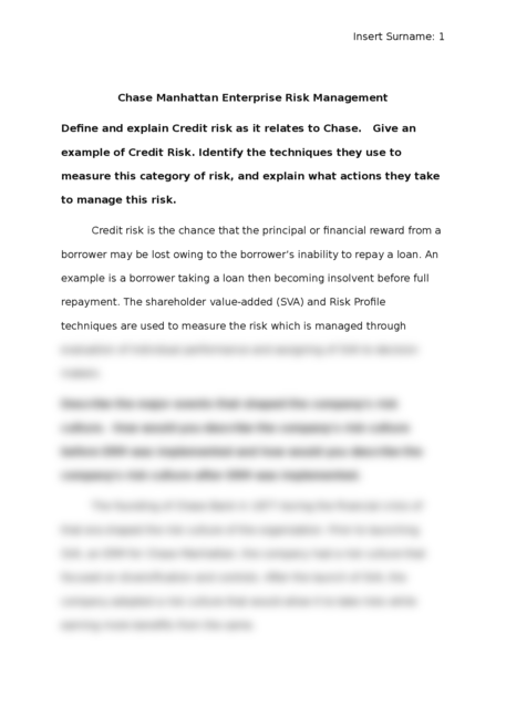 chase manhattan enterprise risk management essay brokers