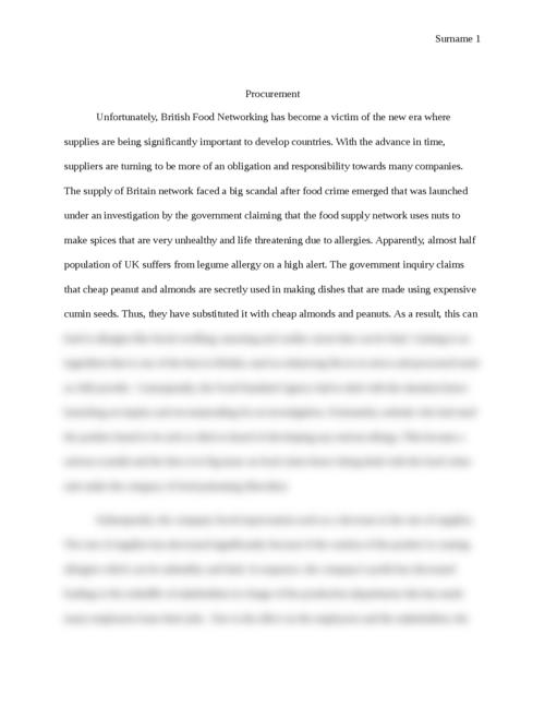 food procurement essay Report: p422 internship report august-december 2009 at faunagua, bolivia student amber beerman (851022044080) program msc biology, wageningen university and.