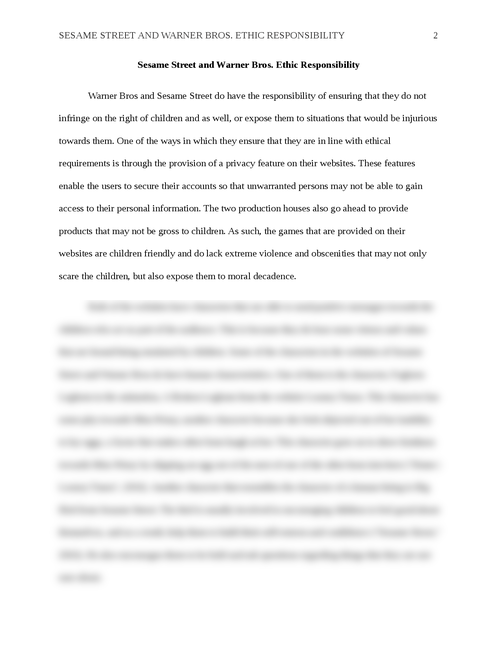 sesame street and warner bros ethic responsibility essay brokers