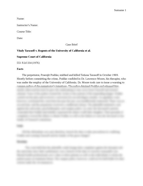Case Brief Tarasoff V Regents Of The University Of California  Dafcdbdeececbaaf  Caecbeedebc  Dedfdbcacbdcbfdfdfbd Research Paper Essay Format also Sample High School Essays  How To Start A Business Essay