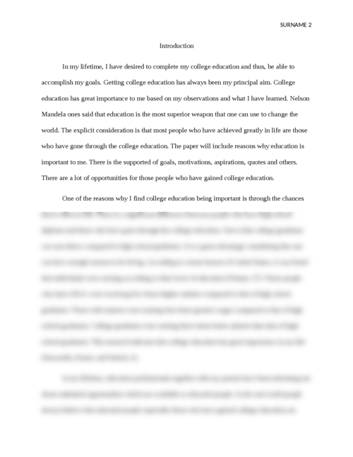 Education for me essay