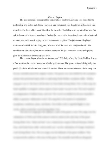 concert report essay We will provide you with a short guide in this music appreciation concert report  essay we will write a custom essay sample on any topic.