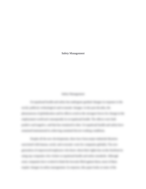thesis on safety management Australian aviation, marine and rail industries have all recently incorporated safety management systems into regulations and operations as a required way of managing safety.